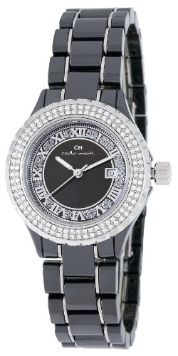 Carlo Monti Ladies Quartz Watch with Mother Of Pearl Dial Analogue Display and Black Ceramic Bracelet CM201-122B