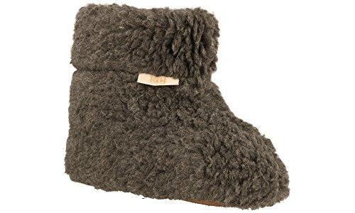 Rbj leather shoes pantofole stile stivaletto alto calde da casa 100% pura lana di pecora confortevoli, in scatola da regalo (opzionale) (37 eu, grigio)