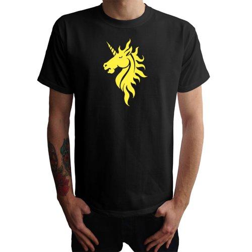 Einhorn Kopf Herren T-Shirt Schwarz