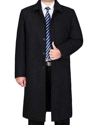 Vogstyle Herren Mantel Wolljacke Lang Umlegekragen Wollmantel Warm Trenchcoat Business Windbreaker Überzieher Style 2 Schwarz XL