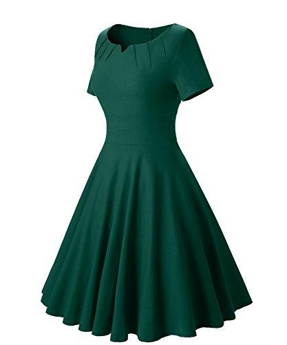 Gigileer Vintage 50er Damen Swing Kleider festliche Cocktail Hochzeit Abendkleid Knielang gruen L - 3