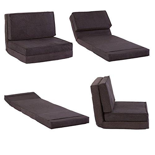 Klappmatratze / Multifunktionsmatratze - Sessel Liege Gästebett für Reisen und Kinder (schwarz)