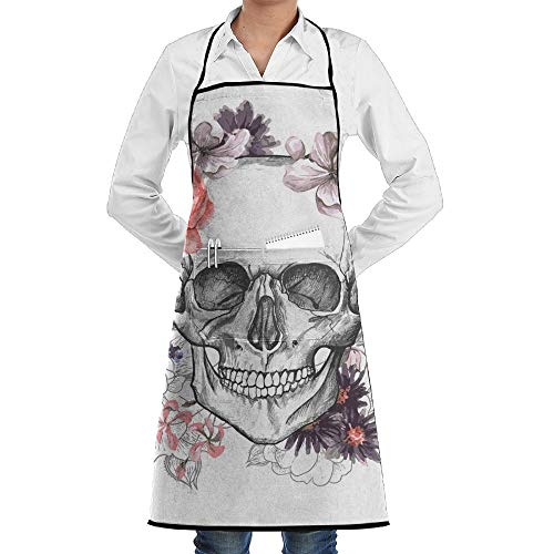 (Hipiyoled Grill Aprons Kitchen Chef Bib Vintage Halloween Skeleton Skull with Flowers Extra Long Adjustable Ties for Cooking,BBQ,Baking)