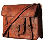 100 % Genuine Leather Vintage Style Laptop Messenger Briefcase Top Handle Travel Business Trip Bag Shoulder Bag By Tech Green INCSize :( 10 X 3 X 13 ) inches