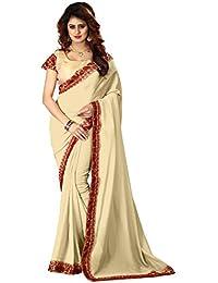 Greenvilla Designs Cream Silk Saree With Blouse