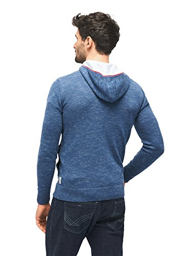 TOM TAILOR Herren Strickjacke Heather Yarn Hood Zip Jacket ocean night blue