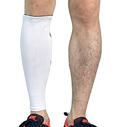 PengGengA Unisexe Athlétisme De Course Manches De Compression Mollet Jambe For Running, Cycling, Basketball, Gym Blanc M