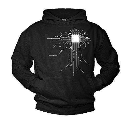 MAKAYA Cooler Geek Pullover mit Kapuze CPU schwarz Größe L