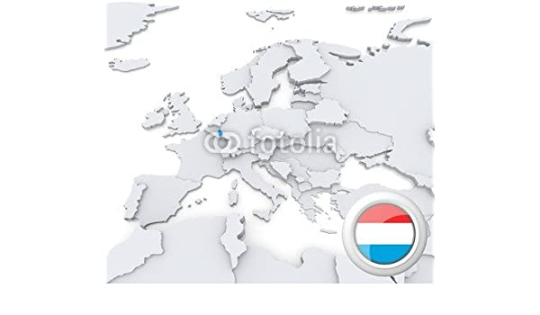 Luxembourg On Map Of Europe 54710870 Poster 90 X 80 Cm Amazon