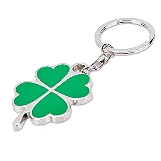 AUFODARA Zinc Alloy Key Ring Four Leaf Clover Pendant Keyring (green)