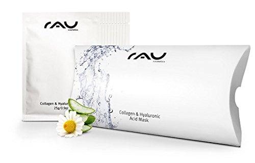 Tuchmaske RAU Collagen & Hyaluronic Acid Mask, Vliesmaske mit Hyaluronsäure, Collagen, Aloe Vera & Kamille, intensive Feuchtigkeitsmaske (10 Stück)