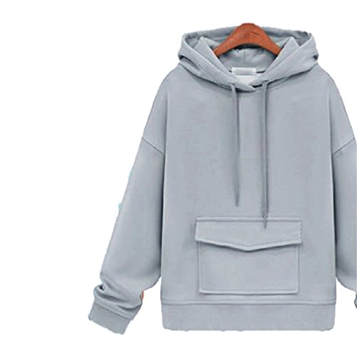 Honghu Casual Manches Longues Col Rond Pull À Capuchon Femme Loisirs Court Sweatshirts Gris