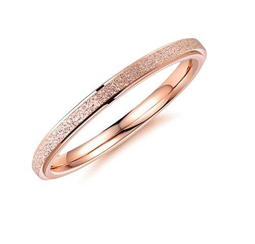 Aeici Damenring Titan Ring Fine Ring Schleifen Roségold Größe 45 (14.3) -