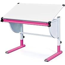 A la izquierda 51067450 de escritorio para niños con diseño de escritorio infantil, colour de madera con soporte, regulable en altura e inclinación ajustable para, Colour de rosa