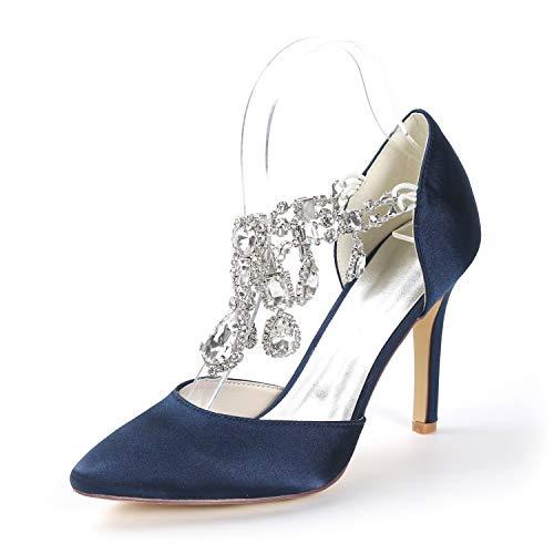 Eleoulck tacco a spillo da donna con tacco a punta aperta décolleté da sposa basici con plateau in raso e tacchi da 9,5 cm, navy blue, 36