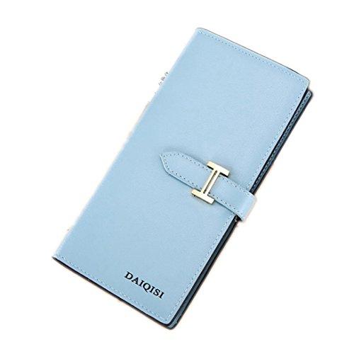 Portafoglio Donna, Tpulling Grande borsa di supporto della carta del raccoglitore della frizione della frizione di cuoio di grande capacità per le donne (Pink) Blue