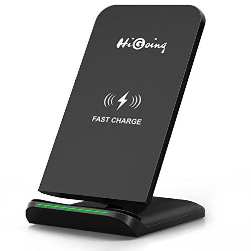 Fast Wireless Charger, HiGoing QI Wireless Ladegerät Kabellose Induktive Ladestation mit Schnellladefunktion 2 Spulen für Samsung Galaxy Note 8/S8/S8 Plus/S7/S7 Edge/S6 Edge Plus/Galaxy Note 5, iPhone 8/8 Plus, iPhone X und alle Qi-fähige Geräte