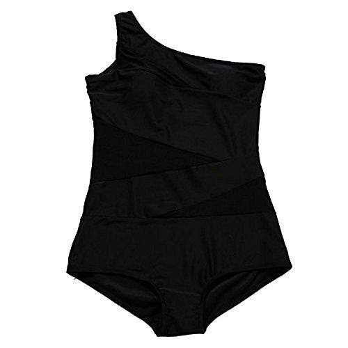 Sasairy Damen Sexy One Shoulder Badeanzug mit asymmetrischer Schulter Schwimmanzug Bikini Schwarz Schwarz