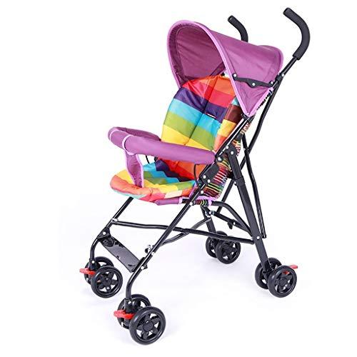 HhGold Kinderwagen Ultraleichte Tragbare Einfache Falten Mini Regenschirm Kind Kinder Vier Jahreszeiten Tourist Trolley Sommer (Farbe: GRÜN) (Farbe : Lila)
