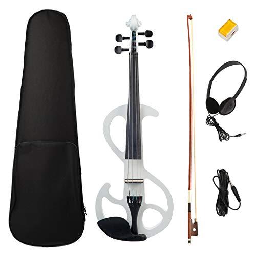 Homyl E-Violine, Ahornholz 4/4 Elektrische Violine Geige Set mit Koffer, Bogen Kolophonium Audiokabel, für Einsteiger Schüler Musikliebhaber - Weiß