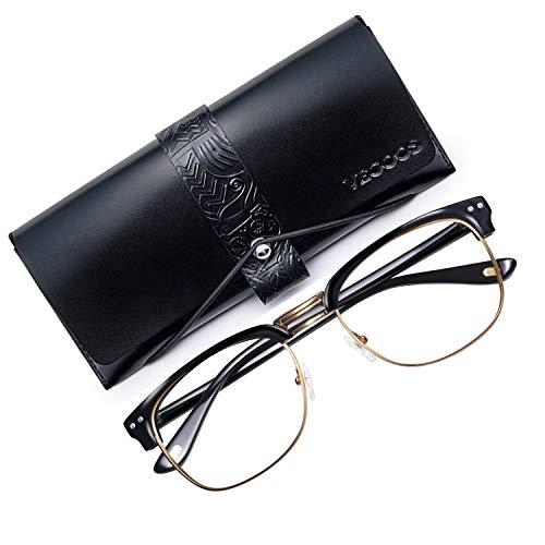 VEGOOS 50er Jahre Retro Nerd Brille Halbrahmen Hornbrille Stil Rockabilly Streberbrille (Gold)