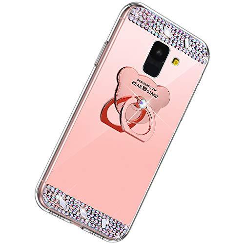 Herbests Kompatibel mit Samsung Galaxy A8 Plus 2018 Hülle Glitzer Mädchen Schuzhülle Spiegel Bling Glitzer Strass Diamant Transparent TPU Silikon Handyhülle Bär Ring Halter Ständer,Rose Gold