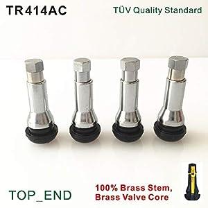 HANO 4pcs / Set, freies Verschiffen, TR414AC, Pkw-Tubeless-Ventil (-in-Reifen-Ventil), Stängel, Ventileinsatz, Ärmel & amp; Cap ()