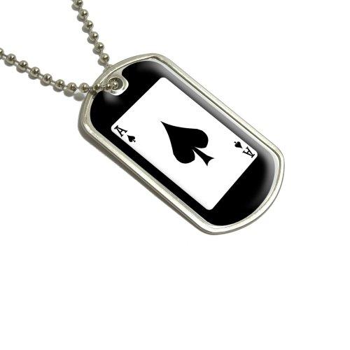 Spielkarten Ace of Spades–Poker Militärische Dog Tag Gepäck Schlüsselanhänger