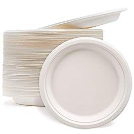 100 Piccoli Piatti di Carta Monouso di Canna Zucchero, Piatti da Dessert 18cm| Rigida & Robusti| Ecologico Compostabili…