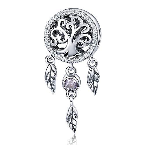 MXMYFZ Charm Armband Anhänger, 925 Sterling Silber Ausschnitt Fashion Lady Charm Perlen Dreamcatcher Persönlichkeit Armband Halskette Schmuck Zubehör,C