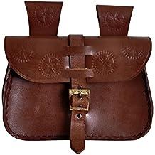 Bolsa para cinturón medieval con grabado y hebilla ajustable cuero genuino marrón 20x14x5m