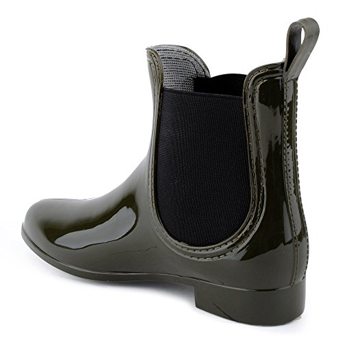 Damen Chelsea Schlupf Stretch-Einsatz Regen Boots Gummi Glitzer Stiefeletten Lack Stiefel Freizeit Schuhe Grün