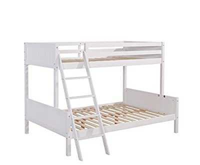 Home Detail Solid Wood Children's Triple Bunk Bed Frame with Solid Headboard | Choice of 3 Colours | With or Without Mattresses