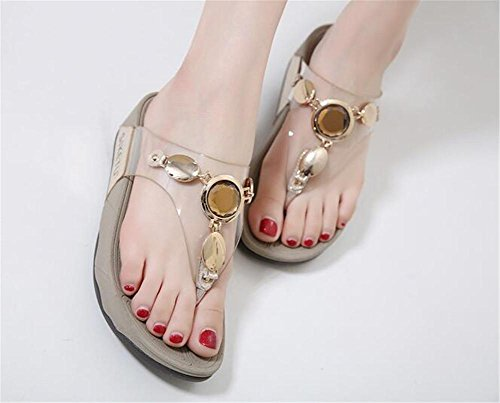 YEEY Sandali donna estate infradito Flat infradito t-strap pantofole strass t-strap Bohemia romana sandali Gold