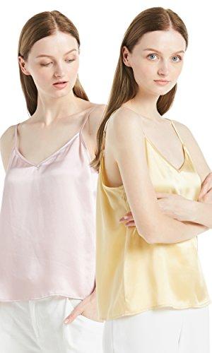 LILYSILK Seide Damentop Tops Shirt Hemd Damenmode Schlichte Seidentops Trägertop Damen 2er Pack 22 Momme Schwarz Weiß Rosa+Gold