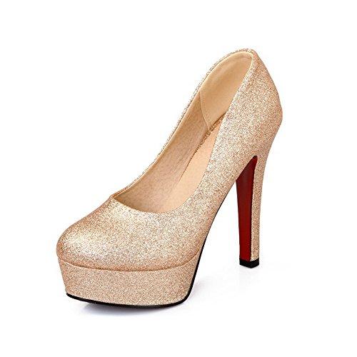 AllhqFashion Femme Couleur Unie Matière Souple à Talon Haut Tire Rond Chaussures Légeres Doré
