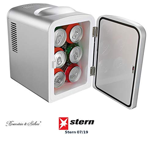 Rosenstein & Söhne Mini Kühlschrank 12V: Mobiler Mini-Kühlschrank mit Wärmefunktion, 4 Liter, 12 & 230 V (Mini Kühlschrank 12V 230v)
