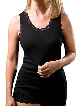 Damen Achselshirt mit Spitzenabschluss, Wolle Seide, Gr. 34-48