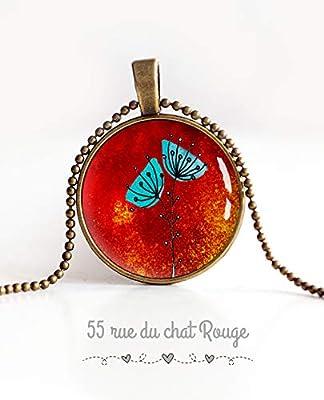 collier pendentif cabochon, Coquelicots bleu et rouge, paillette, long 60 cm, bronze, faits mains, bijoux pour femme