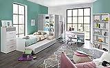 lifestyle4living Jugendzimmer, Jugendmöbel, Teenagerzimmer, Kinderzimmer, Junge, Mädchen, komplett-Set, alpinweiß, 6-TLG, Beton lichtgrau