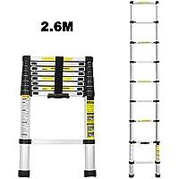 Escalera telescópica 2,6M Escalera plegable de aluminio Escalera multifunción fácil de transportar Capacidad máxima de carga 150 kg