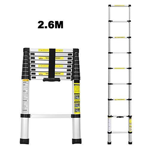 2.6M Teleskopleiter Alu Klappleiter Multifunktionsleiter Leicht zu tragen max Belastbarkeit 150 kg