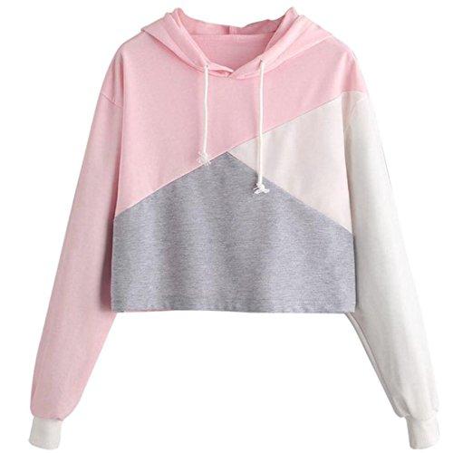 Damen Pullover, VEMOW Frauen Langarm Farbe Block Splice Sweatshirt Tops Bluse