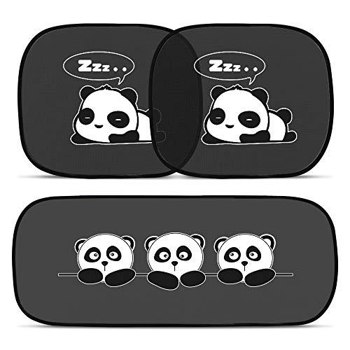ANKOUJA Sonnenschutz Auto Baby Kinder Sonnenblende mit UV Schutz Selbsthaftende PKW Autofenster KFZ SUVs Schwarz, Panda 3 Stk
