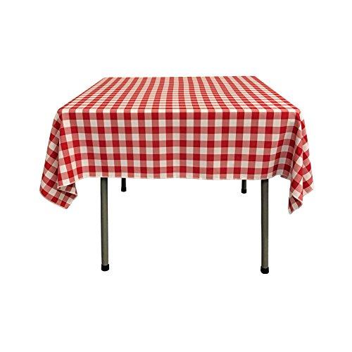 La-Leinen Tischdecke Polyester kariert, quadratisch, Polyester, rot/weiß, 132 x 132 x 0.04 cm - Leinen Weiße Tischdecke Quadratische