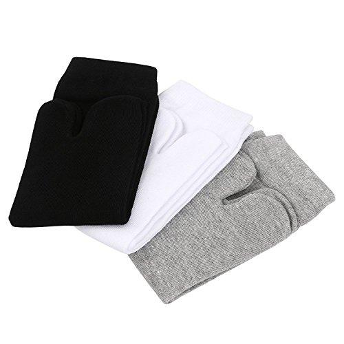 PIXNOR 3 Pairs Elastic Cotton Tabi Toe Socks (White + Grey + Black)