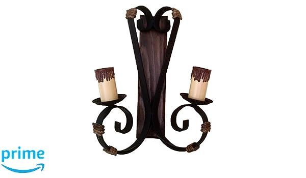 Applique rustico di luci di forgia legno e corda amazon