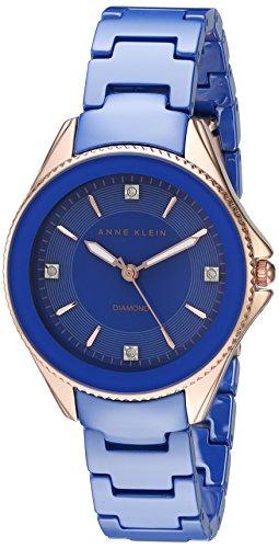 Anne Klein AK/2390RGCB diamond-accented oro rosa e blu cobalto orologio da uomo