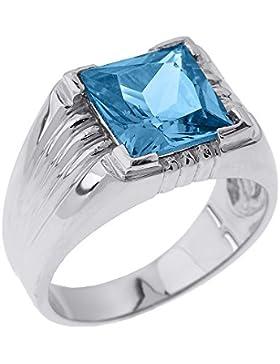 Kleine Schätze - Herren Ring / Verlobungsring / partnerring 925 Sterling Silber Aquamarin Ring