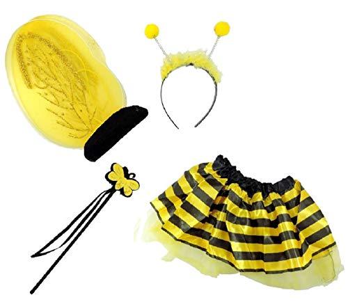Party costume carnevale bambina ape kit accessori travestimento apina gonna ali antenne bacchetta magica